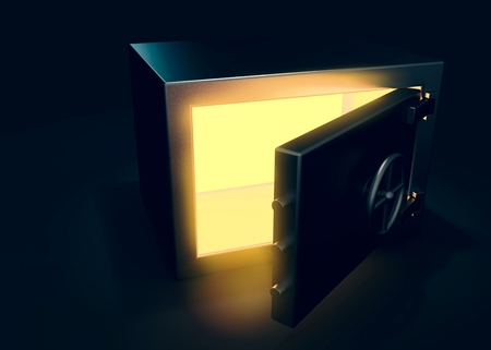 Safe on dark background with light effect 3d render 写真素材