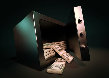 Cash Money Safe Deposit. Small Residential Vault with Pile of Cash Money. 3d render
