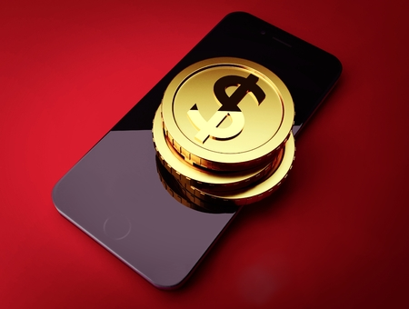 Golden coins on the smart phone 3d render