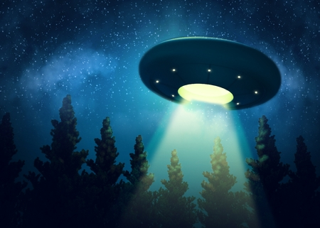 Ufo is hovering over the trees. Digital painting 3d render mix Banco de Imagens