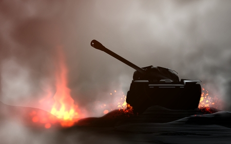 Tank in the battle. 3d render and digital painting Banco de Imagens