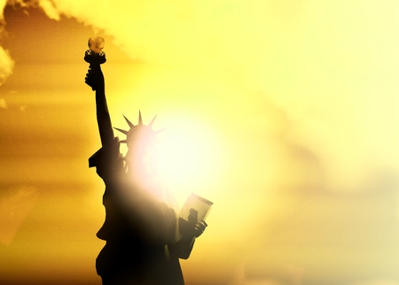 New York statue of liberty in the sunset 3d render