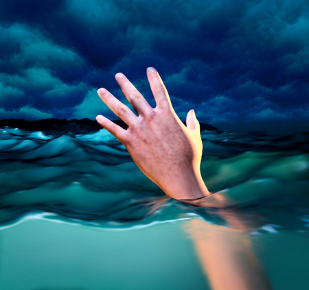 Drowning victims, Hand of drowning man needing help. 3d illustration