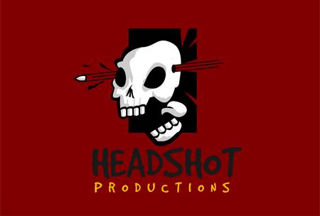 headshot skull logo template vector Ilustração