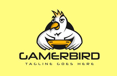 Bird holding a controller playing video games vector logo