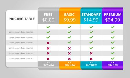 Web pricing table design for business. vector
