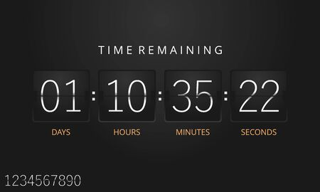 Flip countdown timer template. Vector.