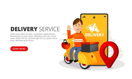 The delivery man delivers the box. A smartphone with a mobile app for tracking shipments.