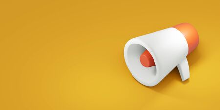 Megaphone on yellow background. 3d render