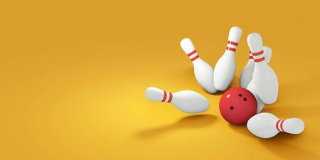 Red bowling ball striking against pins. 3d render Banco de Imagens