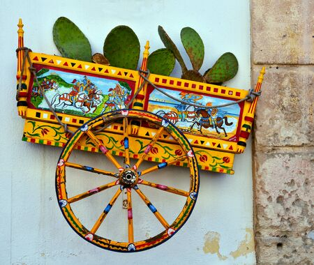 reproduction of a sicilian cart made by an anonymous artist in favignana sicily italy