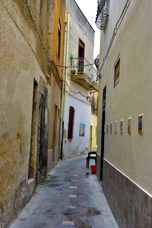 the historic center and ceramic decorations along the path to mazara del vallo Sicily Italy Archivio Fotografico