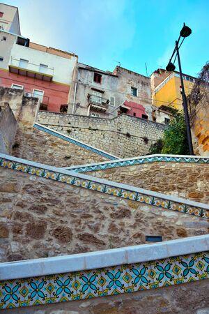 characteristic ceramic majolica staircase in Sciacca Sicily Italy