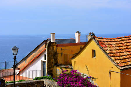 glimpse of cervo Ligurian village in the province of imperia Italy 写真素材