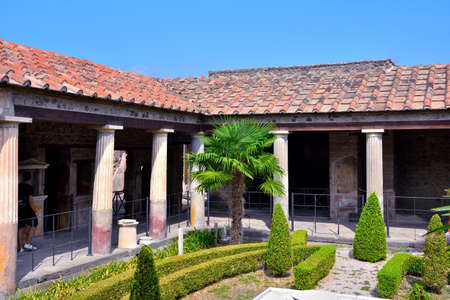 typical luxurious house with garden in the archaeological park Sep 11 2020 Pompeii Italy