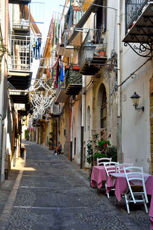 typical trattoria restaurant in the historic center with outdoor tables Sep 19 2020 Cefalù Italy