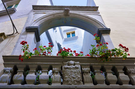 characteristic balconies of the historical center of Gallipoli Italy