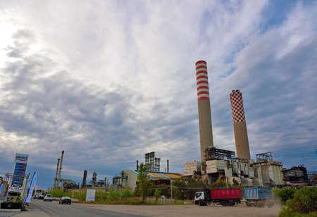 industrial area petrochemical chimneys seen from the highway September 28 2018 Gela Italy Sajtókép