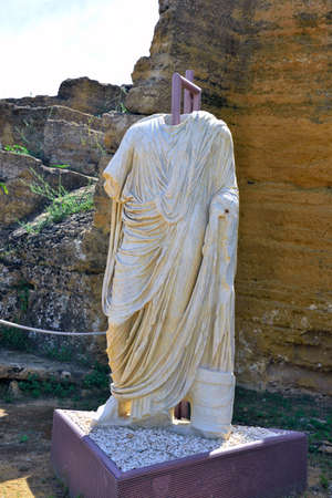 The statues of the Togati found in 2005 dating back to 50 dc Valley of the Temples Agrigento Sicily Italy