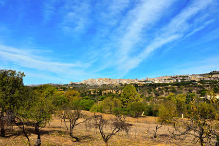 valley of the temples and panorama of Agrigento Sicily Italy
