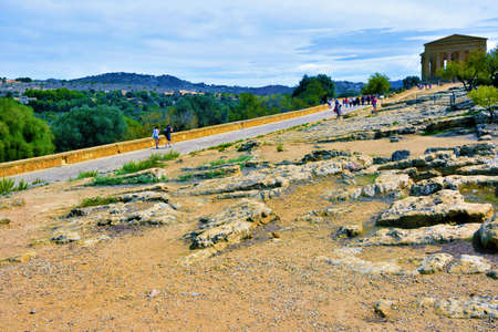 tourists in the valley of the temples: the temple of Juno September 28 2018 Agrigento Italy