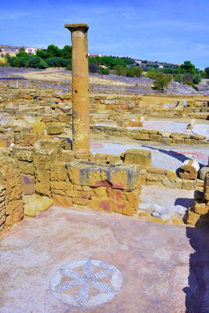 floors and mosaics Valley of the Temples Agrigento Sicily Italy Stock fotó