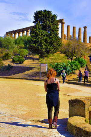 young woman tourist in the valley of temples September 28 2018 Agrigento Italy Sajtókép