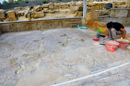 mosaic restoration floor in the valley of the temples: September 28 2018 Agrigento Italy