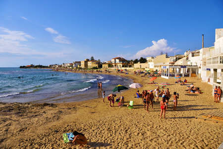 beach near the Casa Montalbano in the province of Ragusa, which has become famous for being the location of a famous TV series September 16 2018 Punta Secca Italy