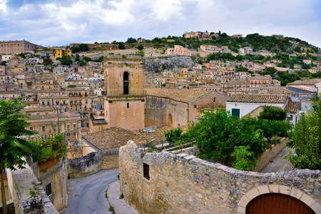 glimpse of historic building in modica Sicily Italy Banco de Imagens