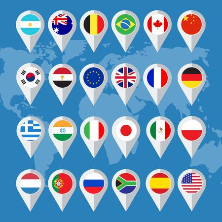 bandiera inglese: Vettore di bandiera pulsanti a forma piatta Vettoriali