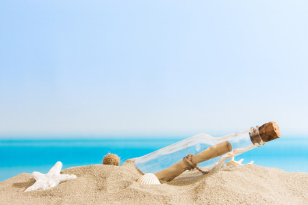 tropical beaches: Message in bottle Stock Photo