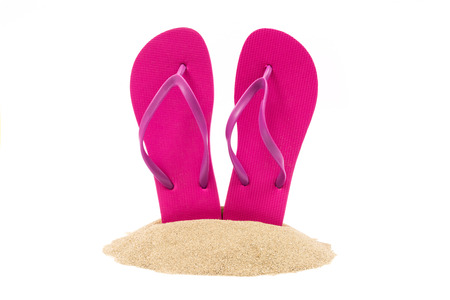 flip flops on the beach: Isolated flip flops on white background Stock Photo