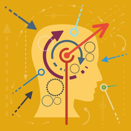 stimulate: Concept stimulate the mind flat design
