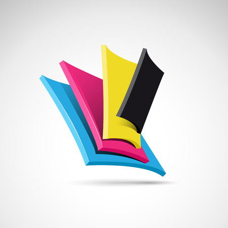 cmyk abstract: Vector abstract shape CMYK for printer