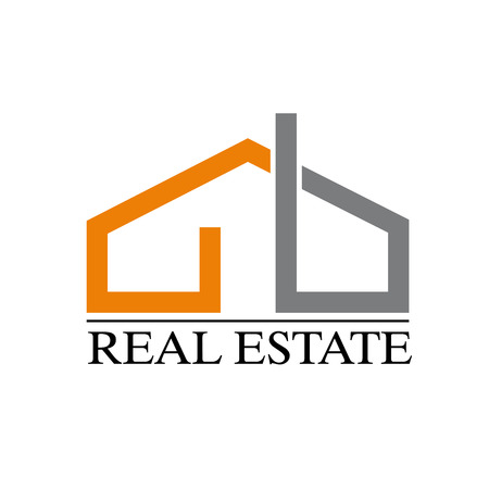 gray strip: Vector sign strip house orange and gray Illustration