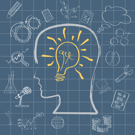 designate: Vector light bulb in head. Concept of idea for the work