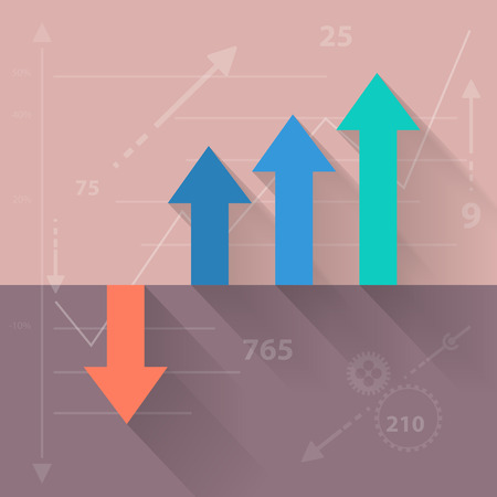 Vector financial growth in flat design background Illustration