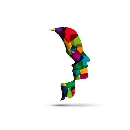 mania: Vector sign digital generation head and pixels Illustration