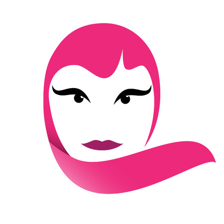 an example: Vector sign portrait of woman in pink