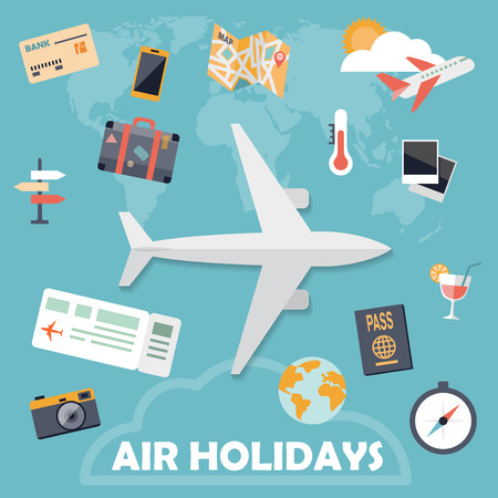 comp: Flat design icons air holidays background