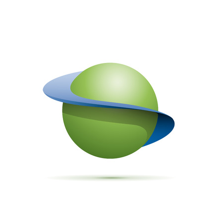 orbits: Vector sign abstract shape of sphere with orbits Illustration