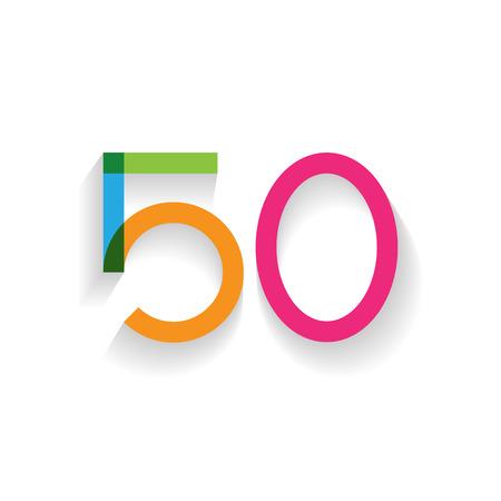 50 number: number 50 in flat design Illustration