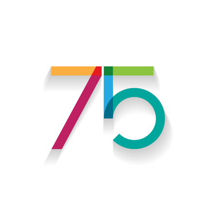 designate: number 75 in flat design