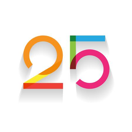 five: number 25 in flat design