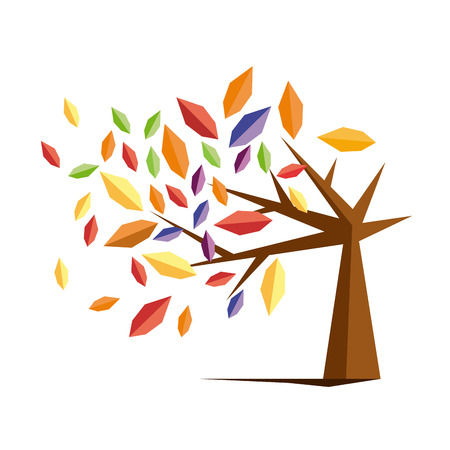 designate: Vector sign autumn tree