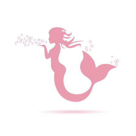 Vector sign mermaid blowing Illusztráció