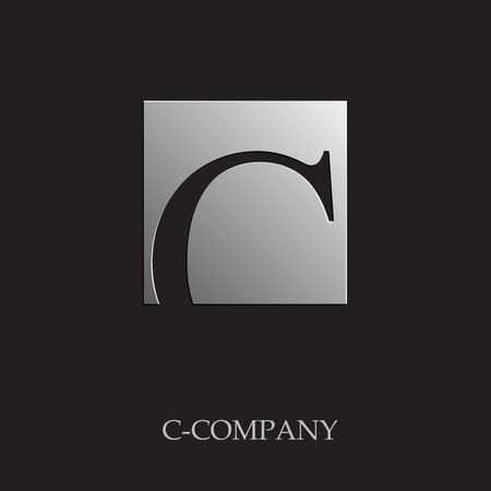 c to c: Vector sign initial letter C on black background