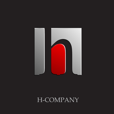 Vector sign initial letter H on black background 向量圖像