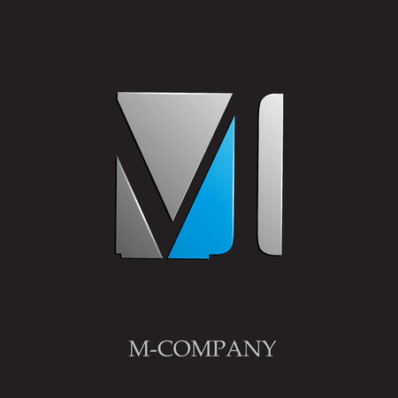m: Vector sign initial letter M on black background